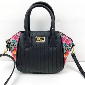Betsey Johnson Black Floral LBQUIINN mini Satchel